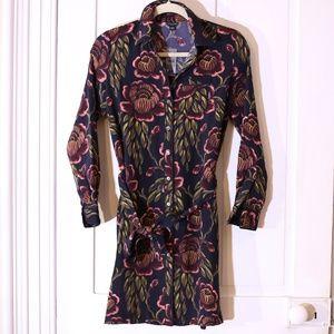 Ann Taylor Floral Print Tie Waist Shirt Dress